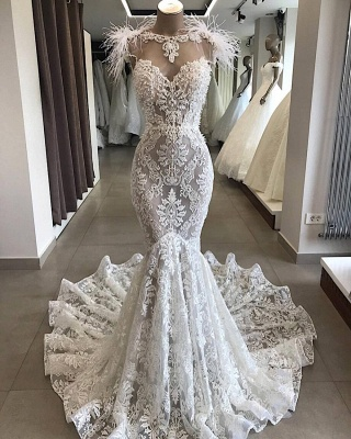 Luxury Sweetheart Mermaid Wedding Dresses White Open Back Lace Bridal Gowns with Fur Neckline_1