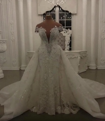 Glamorous Off-the-Shoulder V-Neck Lace Wedding Dresses Detachable Overskirt Sleeveless Bridal Gowns with Open Back_1