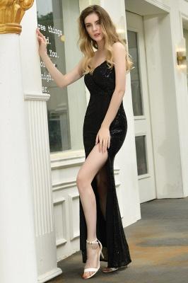 Elegant Black Spaghetti Strap V-Neck Sequined Front Slit Prom Dresses Long Sheath Backless Evening Dresses_7