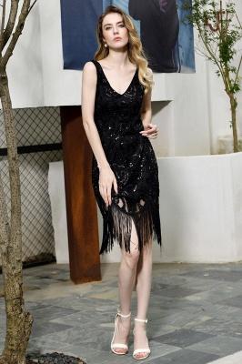 Gorgeous Black Straps V-Neck Applique Lace Sequined Prom Dresses Sheath Appliques Short Formal Dresses_7