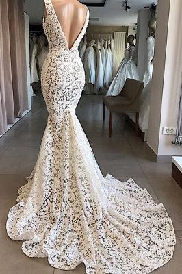 Luxury V-Neck Mermaid Lace Wedding Dresses Romantic Sleeveless Bridal Gowns On Sale_3
