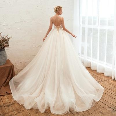 Sexy Spaghetti Straps V-Neck Ivory Wedding Dress Romantic Sleeveless  Bridal Gowns Online_21