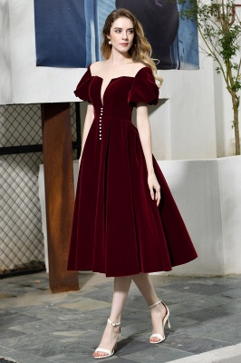 Sexy Flare Sleeve Deep V-Neck Burgundy Prom Dresses A-Line Tea Length Ruffles Evening Dresses_2