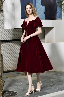 Sexy Flare Sleeve Deep V-Neck Burgundy Prom Dresses A-Line Tea Length Ruffles Evening Dresses_5