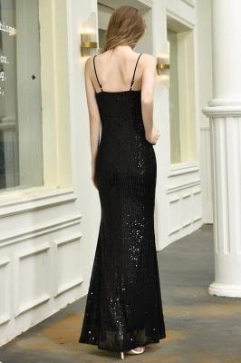 Elegant Black Spaghetti Strap V-Neck Sequined Front Slit Prom Dresses Long Sheath Backless Evening Dresses_4