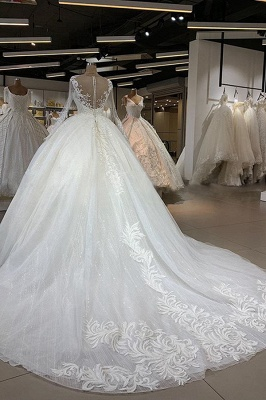 Elegant Illusion Ball Gown White Wedding Dress Long Sleeves Lace Appliques Bridal Gowns with Cathedral Train_3