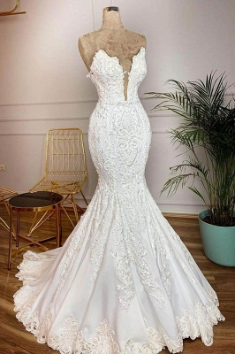Sexy V-Neck Mermaid Wedding Dresses Sleeveless White Bridal Gowns with Lace Train Online_1
