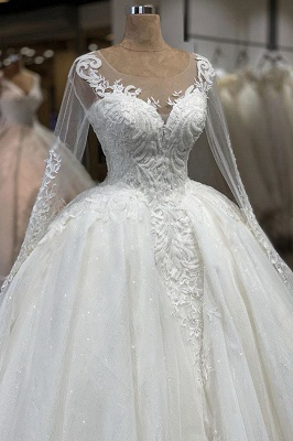 Elegant Illusion Ball Gown White Wedding Dress Long Sleeves Lace Appliques Bridal Gowns with Cathedral Train_4
