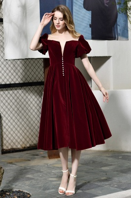 Sexy Flare Sleeve Deep V-Neck Burgundy Prom Dresses A-Line Tea Length Ruffles Evening Dresses_3