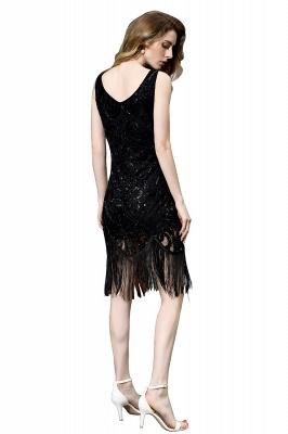 Gorgeous Black Straps V-Neck Applique Lace Sequined Prom Dresses Sheath Appliques Short Formal Dresses_12