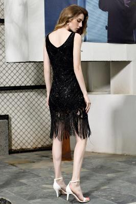 Gorgeous Black Straps V-Neck Applique Lace Sequined Prom Dresses Sheath Appliques Short Formal Dresses_3