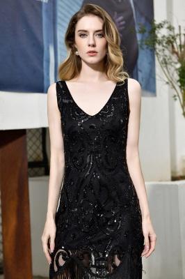 Gorgeous Black Straps V-Neck Applique Lace Sequined Prom Dresses Sheath Appliques Short Formal Dresses_11