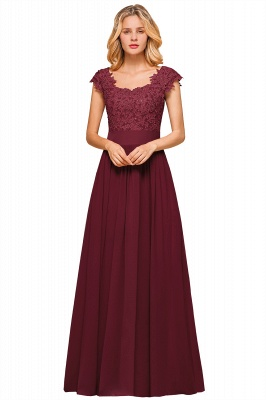Modest Cap Sleeve Scoop Lace Beading Long Prom Dresses A-Line Chiffon Prom Dresses_3