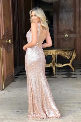 Elegant Straps V-Neck Sequins Prom Dresses Sexy Side-Slit Mermaid Backless Evening Dresses_2