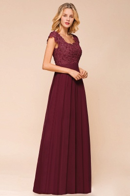 Modest Cap Sleeve Scoop Lace Beading Long Prom Dresses A-Line Chiffon Prom Dresses_12
