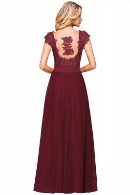 Modest Cap Sleeve Scoop Lace Beading Long Prom Dresses A-Line Chiffon Prom Dresses_15