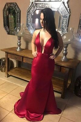 Elegant Burgundy Halter Sleeveless V-Neck Mermaid Prom Dresses Backless Ruffles Evening Dresses_1