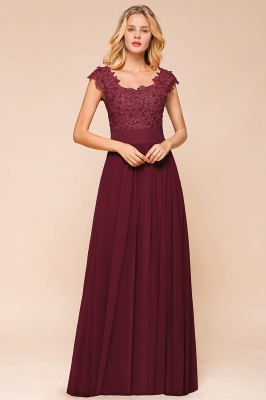 Modest Cap Sleeve Scoop Lace Beading Long Prom Dresses A-Line Chiffon Prom Dresses_7