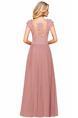 Modest Cap Sleeve Scoop Lace Beading Long Prom Dresses A-Line Chiffon Prom Dresses_19