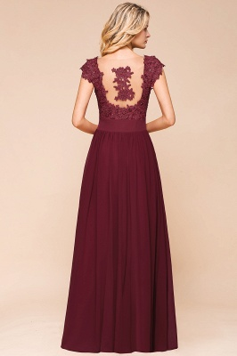 Modest Cap Sleeve Scoop Lace Beading Long Prom Dresses A-Line Chiffon Prom Dresses_11
