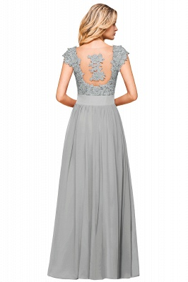 Modest Cap Sleeve Scoop Lace Beading Long Prom Dresses A-Line Chiffon Prom Dresses_22