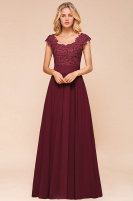 Modest Cap Sleeve Scoop Lace Beading Long Prom Dresses A-Line Chiffon Prom Dresses_13