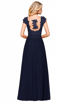 Modest Cap Sleeve Scoop Lace Beading Long Prom Dresses A-Line Chiffon Prom Dresses_26