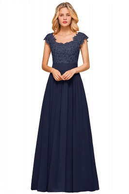 Modest Cap Sleeve Scoop Lace Beading Long Prom Dresses A-Line Chiffon Prom Dresses_16