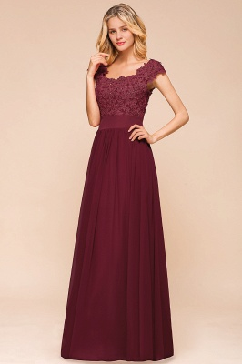 Modest Cap Sleeve Scoop Lace Beading Long Prom Dresses A-Line Chiffon Prom Dresses_8