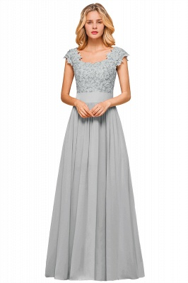 Modest Cap Sleeve Scoop Lace Beading Long Prom Dresses A-Line Chiffon Prom Dresses_4
