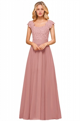 Modest Cap Sleeve Scoop Lace Beading Long Prom Dresses A-Line Chiffon Prom Dresses_2