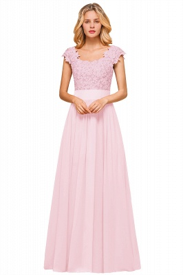 Modest Cap Sleeve Scoop Lace Beading Long Prom Dresses A-Line Chiffon Prom Dresses_20