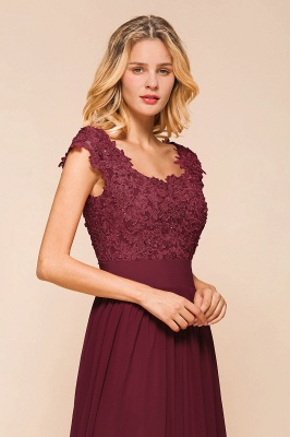 Modest Cap Sleeve Scoop Lace Beading Long Prom Dresses A-Line Chiffon Prom Dresses_8