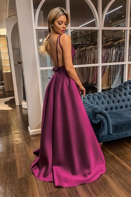 Sexy Straps V-Neck Illusion-back Sash Ruffles Prom Dresses A-line Evening Dresses with Back Bow_2