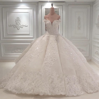 Luxurious Sweetheart Off-the-Shoulder Wedding Dresses Sleeveless Bridal Gown with Rhinestones Online_3