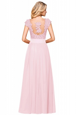 Modest Cap Sleeve Scoop Lace Beading Long Prom Dresses A-Line Chiffon Prom Dresses_25