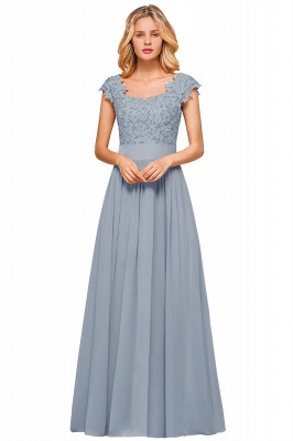 Modest Cap Sleeve Scoop Lace Beading Long Prom Dresses A-Line Chiffon Prom Dresses_5