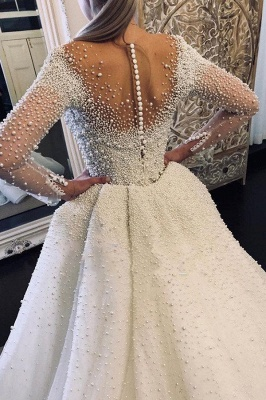 Luxury Ivory V-Neck Wedding Dress Long Sleeves Despatchable Train Bridal Gowns with Fully coverd Pearls_2