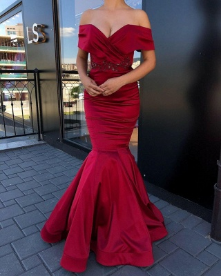 Gorgeous Burgundy Sweetheart Off-the-Shoulder Prom Dresses Beading Long Mermaid Evening Dresses_2