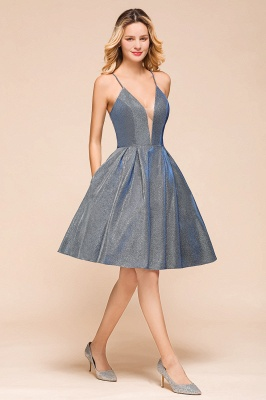 Affordable Spaghetti Strap V-Neck Prom Dresses Sequined Criss Cross Back A-Line Short Evening Dresses_4