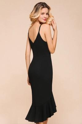 Stunning Black Spaghetti Strap Sweetheart Mermaid Short Prom Dresses Backless Rufffles Formal Dresses_9