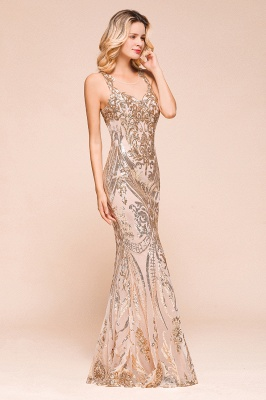 Glamorous Sequined High-Neck Prom Dresses Sleevelss Mermaid Long Formal Party Dresses_5
