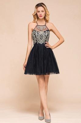 Gorgeous Halter Applique Lace Short Prom Dresses A-Line Backless Formal Dresses_1