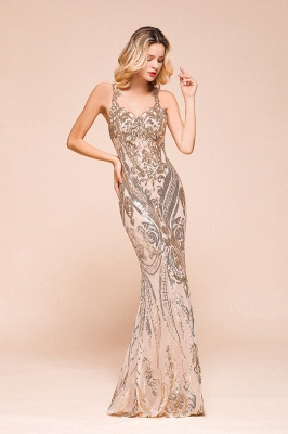 Glamorous Sequined High-Neck Prom Dresses Sleevelss Mermaid Long Formal Party Dresses_6
