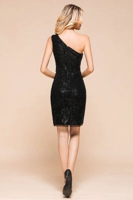 Black One-Shoulder Sequined Prom Dresses Sheath Short Formal Dresses_3
