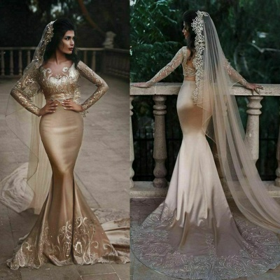 Luxurious Two-piece Lace Mermaid Champagne Wedding Dresses Appliques Long Sleeves Bridal Gowns with Crystals On sale_3