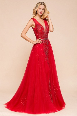 Sexy A-line V-Neck Red Prom Dresses Open Back Sleeveless Formal Dresses with Beaded Belt_7
