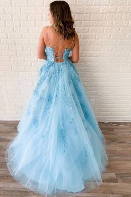 Spaghetti Strap Backless Appliques Prom Dresses A-Line Lace Sleeveless Evening Dresses_2