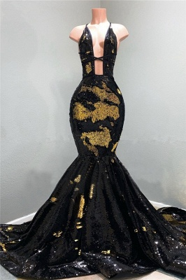 Sexy Spaghetti Straps Deep Neckline Prom Dresses Sequined Black Mermaid Formal Dresses_1