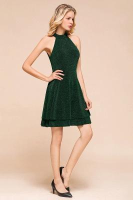 Glamorous Green Halter Sleeveless Sequined Short Prom Dresses Backless Sheath Formal Dresses_8
